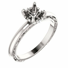 Semi Mount Setting Sculptural Vintag White Gold Engagement Ring for Round 6.5mm