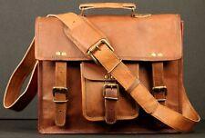 """New Handmade 15"""" Genuine Leather Satchel Messenger Laptop Briefcase Shoulder Bag"""