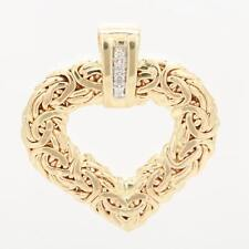 Natural Diamond Byzantine Heart Charm Pendant Real Solid 14K Yellow Gold QVC