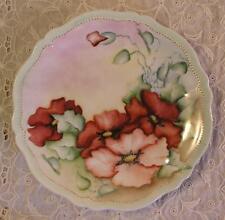 Oscar & Edgar Gutherz Hand Painted Porcelain Plate Artist Signed 1898+ POPPIES