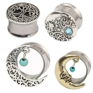 1 Pair Surgical Steel Moon Turquoise Double Flare Flesh Tunnel Ear Plug Expander
