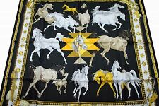"HERMÈS 35"" 90cm NIBWT Silk Scarf LES CHEVAUX QATARIS Black White Gold Silver"