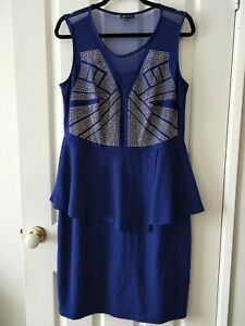 City Chic Royal Blue and Silver Stud Pleated Pencil Dress Size XS