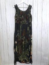 Citron Santa Monica Medium Black Sheer Velvet Floral Beaded Print Maxi Dress