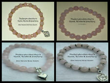 Handmade Rose Quartz Silver Plated Stone Fashion Bracelets