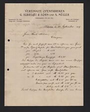 HILDESHEIM, Brief 1909, Vereinigte Ofen-Fabriken G. Albrecht & Sohn u. A. Müller