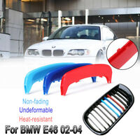 3x Car Front Kidney Grille Grill Trim Stripe Cover Decoration For BMW E46 02-04