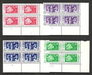 NEW HEBRIDES 1956 50th ANNIVERSARY ENGLISH VERSION PLATE BLOCKS 1 (MNH)