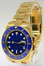 ** Rolex Submariner 18k Yellow Gold Blue Ceramic Watch Box/Papers V 116618 **
