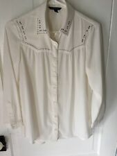American Eagle Outfitters Women's Small Cream Blouse With Silver Studs Indie