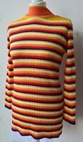 Unbranded Jumper UK10/12 EU38/40 US6/8 multicoloured striped high neck long...