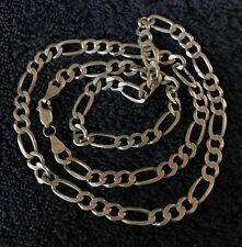 """Sterling Silver ~22 grams Narrow Figaro Curb Style Necklace 22"""" #120 1/4"""""""