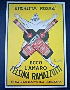 RIPRODUZIONE MANIFESTO - POSTER DI AMARO FELSINA RAMAZZOTTI  - 1930ca