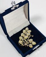 Stunning Vintage Brooch Gold Tone Lucite & Aurora Borealis Crystal Floral Spray
