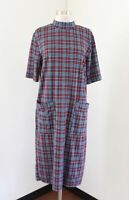 Zara Woman Red Blue Plaid Short Sleeve Mock Neck Dress Pockets Size L Midi
