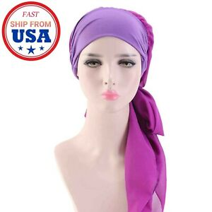 Women Cancer Head Scarf Chemo Hair Loss Hat Turban Pre-Tied Headwear Bandana New