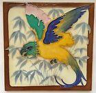 Parrot & Bamboo DESVRES french Art Nouveau Tile Secessionist Carreau Jugendstil