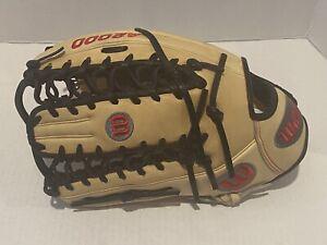 "2021 Wilson A2000 Outfield Glove 11.75"" Pro Stock Cain Baseball Blk/Tan LHT Left"