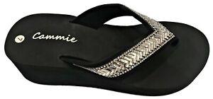 Women Platform High Wedge Heel Rhinestone Slides Flip Flops Thong Sandal Slipper