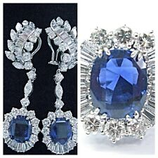 Platinum Cushion Cut Burma/Madagascar Sapphire Diamond Earrings & Ring 25.97Ct