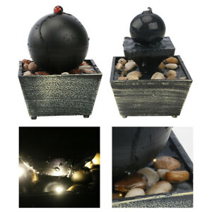 Indoor Tabletop Fountain Zen Statue Cascading with Light Home Decor Gifts