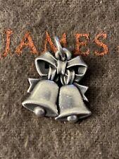JAMES AVERY RETIRED 3D Musical HAND BELL CHARM STERLING SILVER Earrings