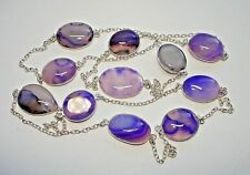 """Agate Silver Station Necklace 28-36+"""" Ab One-of-a-Kind Purple Lavender Botswana"""