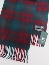 Lyle & Scott 100% cashmere scarf burgundy greenchecked mens womens NEW wool
