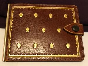 Winston Italy Goat Leather 14K Solid Yellow Gold Money Clip Wallet.-C603