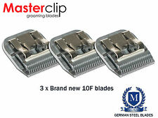 3 x Masterclip 10F Dog/Horse Clipper Blades 1.6mm A5 Size fits Andis & Oster
