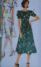 RETRO style fitted DRESS PATTERN 16-22 flare puff sleev