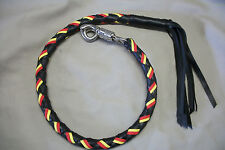 Biker whip getback motorcycle leather & paracord RED YELLOW PARACORD BLK LEATHER