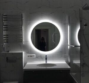 Size : 40cm Z-Life Specchio da Bagno Moderno A Specchio Rotondo Grande con Cornice in Metallo Color Ottone