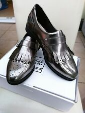 Ladies Sole Diva Pewter Grey Patent Fringe Brogues Loafers Size 7E New