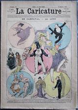 "Albert ROBIDA Journal LA CARICATURE N°54 1881 Couv. Couleurs ""En Carnaval"" Loys"