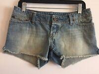 Abercrombie Fitch Womens Blue Jeans Mini Shorts Size 2 Distressed Raw Hem