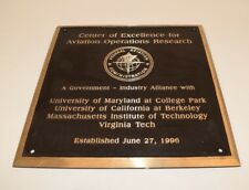 Brass Plaque / Sign, 20 lbs FEDERAL AVIATION ADMINISTRATION, MIT, BERKELEY ...