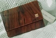 GIAN MARCO VENTURI Womens WALLET GMV Wood Grain Design on Leather RARE ITALY