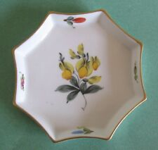 HEREND China FRUITS NECKER Flower Vintage Porcelain OCTAGON TRAY BUTTER PAT DISH