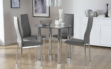 Solar & Leon Glass & Chrome Dining Table And 4 Chairs Set (Grey)
