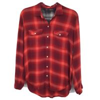 GAP + Pendleton Long Sleeve Button Front Shirt Flannel Small Red Purple Plaid