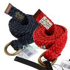 New $98 Polo Ralph Lauren Cotton Leather Braid Double D Ring Belt L