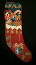 Hand Embroidered  Wool Needlepoint Xmas Stocking Full of Toys Victorian Design