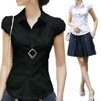 Cap Sleeve top Office Cotton Blouse Collared Shirt Womens Ladies fashion Size