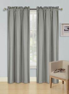 1 Set Rod Pocket Foam Lined Thermal Blackout Window Treatment Curtain Panels R64