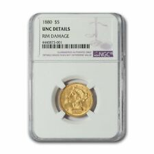 1880 $5 Liberty Gold Half Eagle Unc Details NGC (Rim Damage)