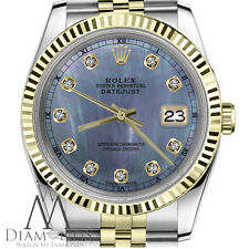 36mm Rolex Datejust 2 Tone Tahitian MOP Mother of Pearl Diamond Numbers Jubilee