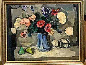 ORIGINAL H/PAINTED OIL ON CANVAS CUBISM STILL LIFE FLOWERS SINED A.CHERKAS FRAME