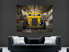 YELLOW HOT ROD CAR POSTER PRINT CLASSIC USA HUGE LARGE WALL ART PICTURE