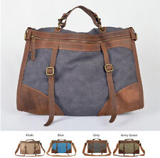 Vintage Retro Military Canvas Leather Men Travel Bags Tote Weekend Luggage Bag